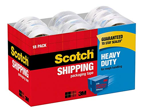 """Scotch Heavy Duty Shipping Packaging Tape, 1.88"""" x 54.6 Yards, 3"""" Core, Clear, Great for Packing, Shipping & Moving, 18 Rolls (3850-18CP)"""