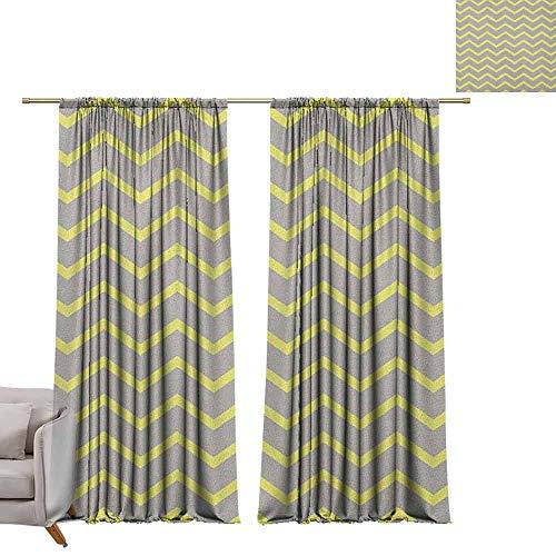 Rod Pocket Gordijnen voor kamer donkere panelen voor woonkamer slaapkamer grijs en geel, Circus Tent Geïnspireerd Vintage Retro strepen moderne afbeelding bleke gele Beige en wit