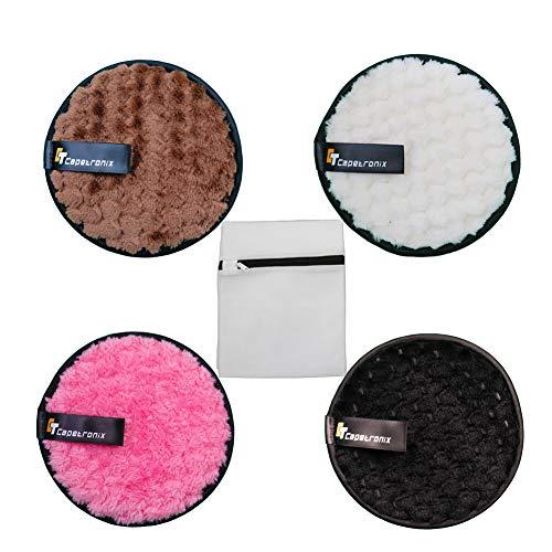 CT Capetronix - Juego de almohadillas desmaquillantes de algodón y desmaquillantes orgánicos, esponjas, toallitas desmaquilladoras reutilizables, limpiadoras faciales (4 unidades)