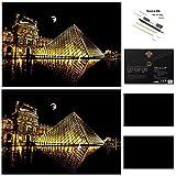 Paquete de 2 imágenes rascadoras de 405 x 285 mm, imágenes para rascar el papel rascador, diseño de monumentos mundiales, regalo creativo, con 4 herramientas Louvre.