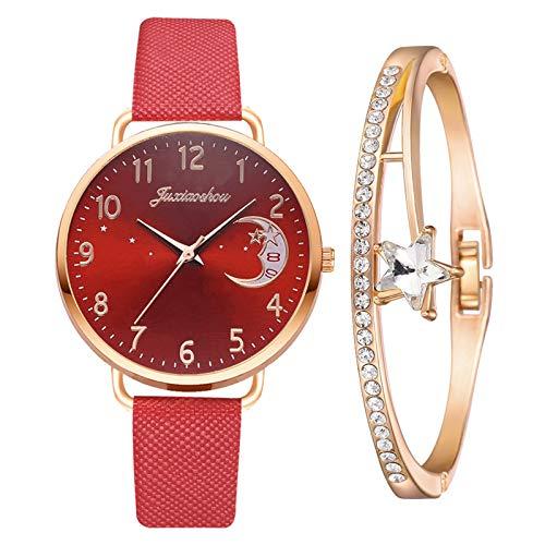 Yue668 Mode Damen Quarz Uhr mit Edelstahl/PU Leder Armband, Lässige Armbanduhr Mit Elegante Armbänder, Frauenuhren Damenuhr Geschenk für Frauen Damen (D3)