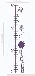Butterflies and Flowers Growth Chart Vinyl Decals Girls Decor Stickers 7.5x37-Inch Plum