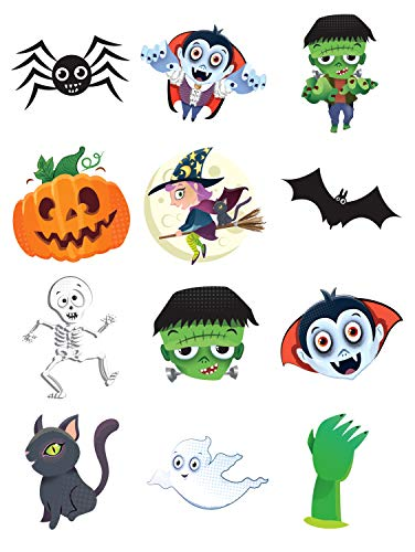 12 x Spooky Halloween Vampire Pumpkin Bats Kids Pretend Transfers Tattoos by Henbrandt