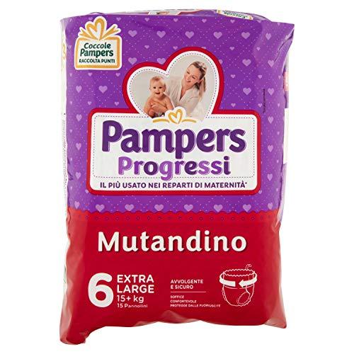 Pampers Progressi Mutandino Extra Large, Taglia 6 (+15 kg), 15 Pannolini