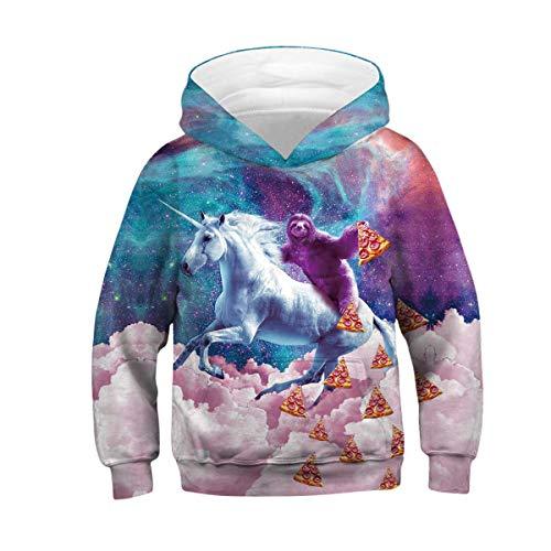 Ainuno Teen Boys Girls Hoodies Novelty Galaxy Unicorn Print Sweatshirts Pullover for Kids,Sloth&Unicorn,11-13Y