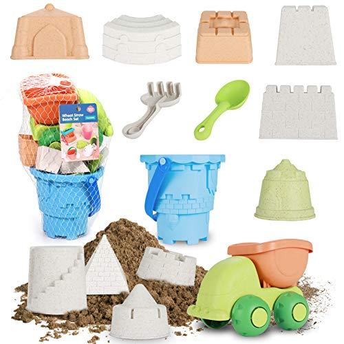 FANURY Beach Sand Toys Set for Kids, 14Pcs Sand Castle Toys for Beach with Mesh Bag, Castle Mold, Dump Truck, Bucket, Shovel, Rake, Sandbox Toys Summer Outdoor Beach Toys for Toddlers Boys Girls 3-10