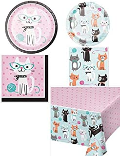 Olive Occasions Purr-fect Cat Themed Disposable Party Supplies 16 Dinner Plates, 16 Dessert Plates, 16 Lunch Napkins, 16 Beverage Napkins, Table Cover and Grandma Olive's Recipe