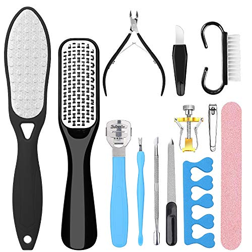 Hapythda Professional Pedicure Tools Kit Foot Scrubber Scraper for Dead Skin Foot File Rasp Callus Remover for Feet Foot Care Nail Clippers File Set for Men Women13 PCS