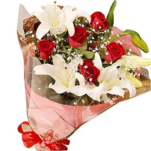 母の日 赤バラ カサブランカ花束