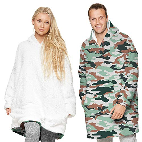 Winter Man Cool Flannel Oversize Camouflage Hoodie Blanket American Style Street Fashion Camouflage Hooded Supersize Tops