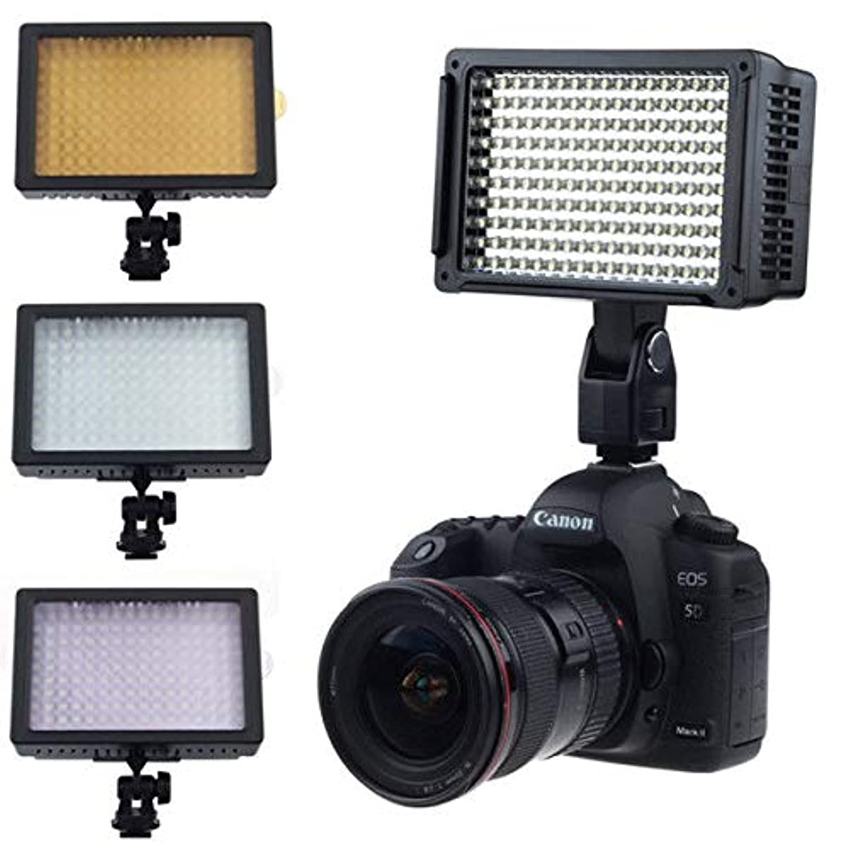 Runshuangyu 160 LED CN-160 Dimmable Ultra High Power Panel Hot Shoe Video Camcorder Lamp Light Photo Studio Lighting + Soft Diffuser + 3200k Filter fits to Canon Nikon Sony Panasonic Olympus Camera