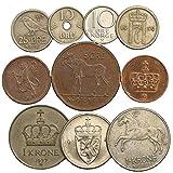 10 Monedas Antiguas de Noruega. Monedas coleccionables Mineral Noruego...