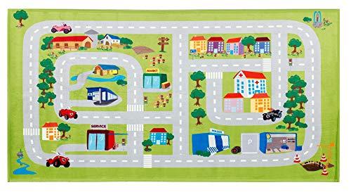 Straßenteppich Bobby Car | Spielteppich Straße Auto, Kinderteppich für Jungen und Mädchen, Größe 80x150 cm