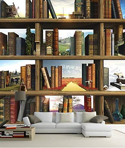 ShAH Anpassen von 3D Wallpaper Murals Kreative Book Bookshelf Wallpaper für Wände Wohnzimmer TV Couch Hintergrund Wand 150cmx105cm