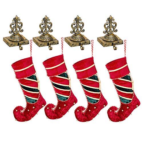 4lusso calza di Natale set regalo (calza H22x w11.5inch/Holder H7x W4pollici) fatto a mano in velluto Jingle Bell Elf Boot calze (più grande) e riciclato anticata in ghisa ornato oro antico rifinito a mano stile vittoriano Crown calza appendiabiti–festive Home decorazione per camini/davanzale/camino–perfetta alternativa al tradizionale–Gancio per calza, ideale per la famiglia di Natale