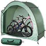 H&ZT Bike Storage Tent Tricycle Cover Storage Shed Tent Durable Polyester Waterproof Anti-Dust Portable Foldable Bike Tent W/Ground Nail
