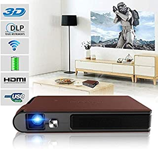 Mini Pocket LED Projector Wifi 3D with Built-in Battery Wireless Portable HD DLP Projector HDMI USB Audio Auto Keystone Co...