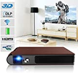Mini Pocket LED Projector Wifi 3D with Built-in Battery Wireless Portable HD DLP