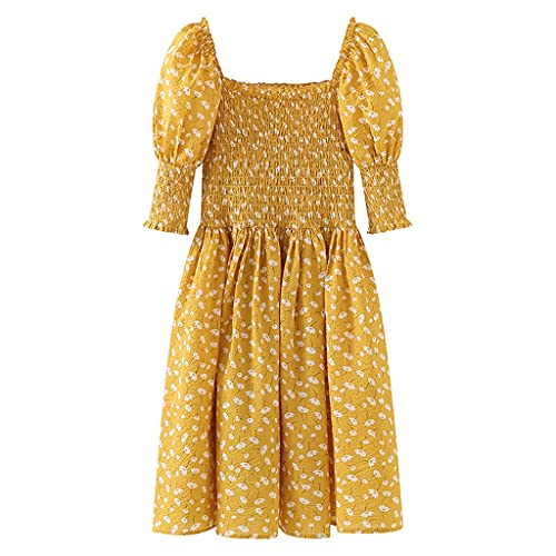 GDSSX Vestido Floral Amarillo de Verano para Mujer Retro Cuello Cuadrado Cuello Manga Slim Long Dress Elegante (Color : Yellow, Size : L)