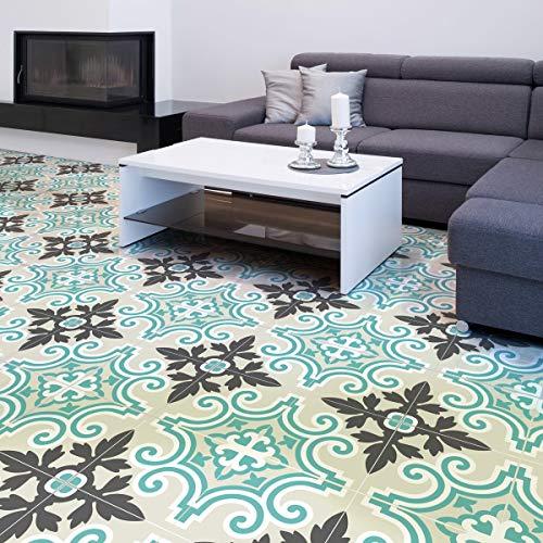 4 Sticker adhésif revêtement sol carrelages azulejos anti-dérapant - 20 x 20 cm - 4 pièce