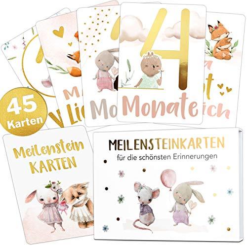45 Baby Meilensteinkarten Mädchen Gold Meilenstein Karten Set + Geschenkbox schöne Geschenkidee zur Geburt, Taufe oder Babyparty