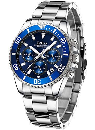 Reloj de Pulsera para Hombre con cronógrafo de Acero Inoxidable, Resistente al Agua, Fecha, analógico, de Cuarzo, para Hombre, Gold D, Pulsera