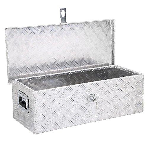 Yaheetech 30 x 13 inch Heavy Duty Aluminum Tool Box Pickup Truck Bed Storage w/Lock Silver
