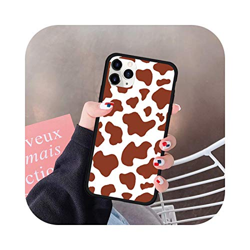 Funda de teléfono con impresión de vaca para iPhone 12 11 Pro XS MAX 7 SE20 XR X 8 6Plus silicona púrpura PC duro cubierta mate Fundas-estilo 5-para iphone SE2020