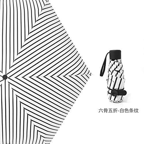MVBGLK opvouwbare paraplu zak paraplu geschenk zon paraplu vrouwelijke opvouwbare paraplu zonnescherm Thickened vinyl Five fold vertical stripes