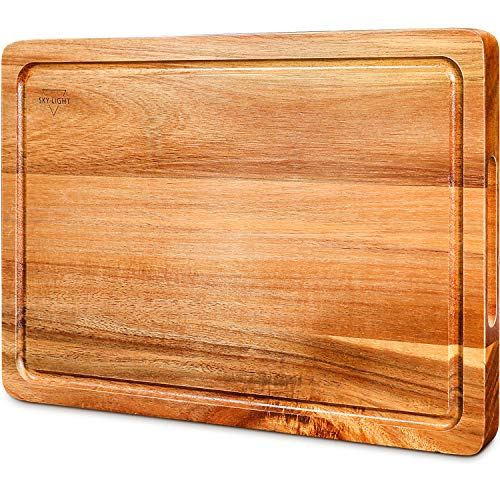 SKY LIGHT Cutting Board, Wood Chopping Boards for Kitchen with Deep Juice Groove, Organic Acacia Butcher Block for Meat and Vegetable, Wooden Carving Board with Grip Handles BPA Free - Medium