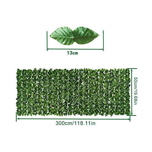 HAINIWER Plantas Hiedra Artificial, 0.5 * 3m Malla Sombreo Cubierta Exterior Sombreadora, Pantalla Privacidad Balcón Terraza Jardín Seto Valla De Hojas Artificiales Verde
