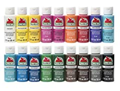 This Apple Barrel Acrylic Paint set comes with 18 – 2 oz bottles in the colors: White, Yellow Flame, Bright Yellow, Bright Magenta, Fuchsia, Jack-o-lantern, Flag Red, Purple Iris, Parrot Blue, Bimini Blue, Bright Blue, Too Blue, New Shamrock, Holly B...