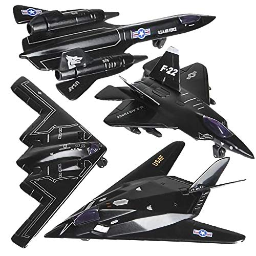 ArtCreativity Diecast Stealth Bomber Toy Jets with Pullback Mechanism, Set of 4, Die...