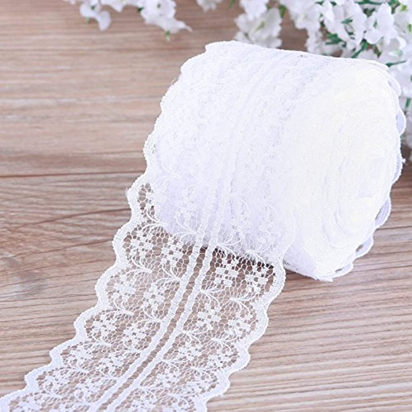 White Lace Roll,Lace Ribbon,Vintage Style Scalloped Edge Lace Ribbon DIY for Craft Lace(4.5CM Width 25 Yards)