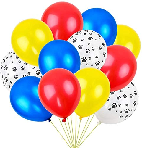 RUBFAC 36 Colorful Latex Dog Paw Print Balloons (Red, Yellow, Blue, Dog Paw), Paw Party Decorations, Activities, Classroom, Birthday Parties, etc