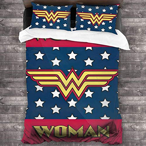KINGW Wonder-Woman Bedding Comforter Set 3D Printed Quilt Cover Pillowcase 3 Piece Bedding Sets for Kids Adult 86 X 70 Inch