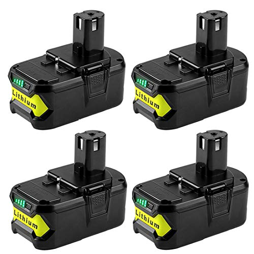 4-Pack 4.0Ah Replacement for Ryobi 18V Lithium ion ONE Plus Compact Battery P104 P100 P108 P102 P107 P105 P109 P103 Compatible with Ryobi 18-Volt ONE Plus Cordless Batteries