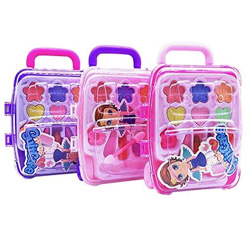 Make-up-Spielzeug,Kinder Sicher Ungiftig Kosmetik Prinzessin Make-up Box Trolley Form Lidschatten...