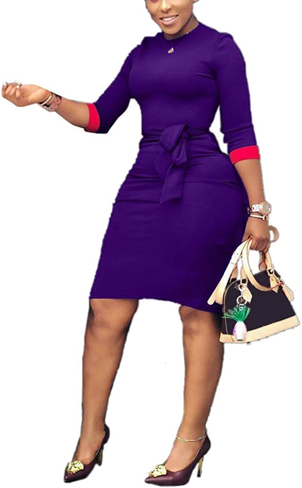 Choichic Bodycon Midi Dresses for Women - Elegant 3/4 Sleeve Patchwork Business Pencil Dresses with Belt