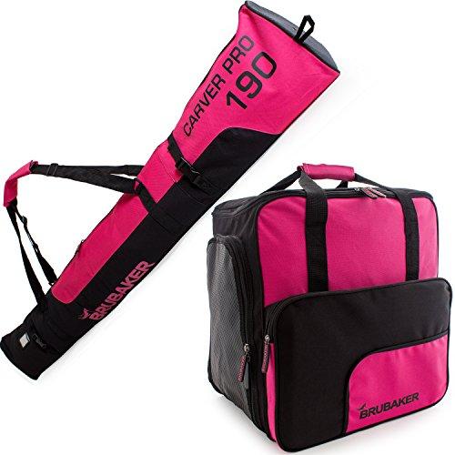 Brubaker Kombi Set Carver PRO - Limited Edition - Skisack und Skischuhtasche für 1 Paar Ski bis 170 cm + Stöcke + Schuhe + Helm Pink Schwarz