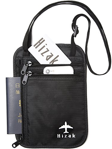 Hizak パスポートケース 首下げ スキミング防止 海外旅行 便利グッズ トラベルポーチ RFID 防犯 「 防水 大量収納 コンパクト ポーチ 」「 貴重品 入れ パスポート カバー 」「 iPhone7plus 収納可 ブラック 」