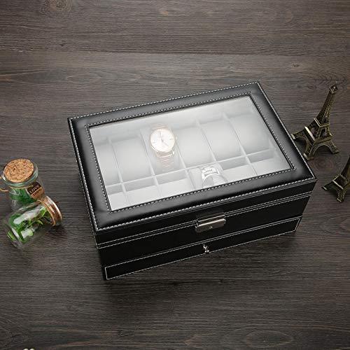 Joyero de PU, caja de reloj de pulsera negra, regalo personal de almacenamiento de joyas para hombres para joyería para exhibición