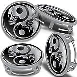 SkinoEu 4 x 75mm Tapas de Rueda de Centro Centrales Llantas Aluminio Tapacubos Compatibles con Mercedes Benz B66470207 / B66470200 Plata Gris Cráneo Yin Yang CMS 5