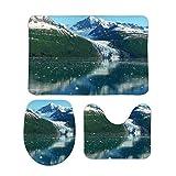 Juego de alfombras de baño RedBeans antideslizantes de 3 piezas de franela para baño, diseño de fiordo universitario y fiordo de Alaska crucero suave con pedestal antideslizante