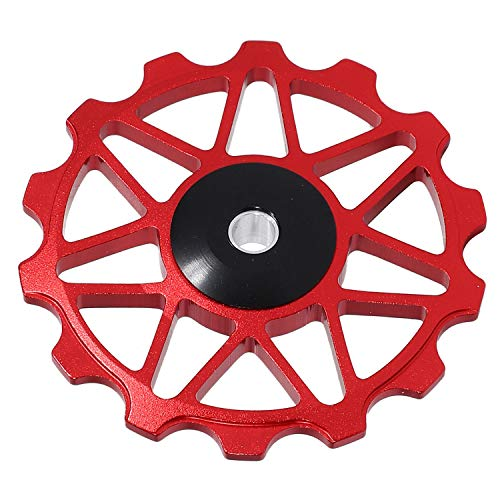 Nrpfell 14T Aluminum Alloy Mtb Bicycle Rear Derailleur Pulley Jockey Wheel Road Bike Guide Roller Part Cycling Accessory Red