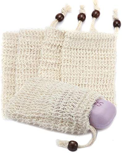 5PCS Natural Sisal Soap Bags Ideal for Scraps Save Soaps Mesh Soap Saver Pouch for Massaging product image