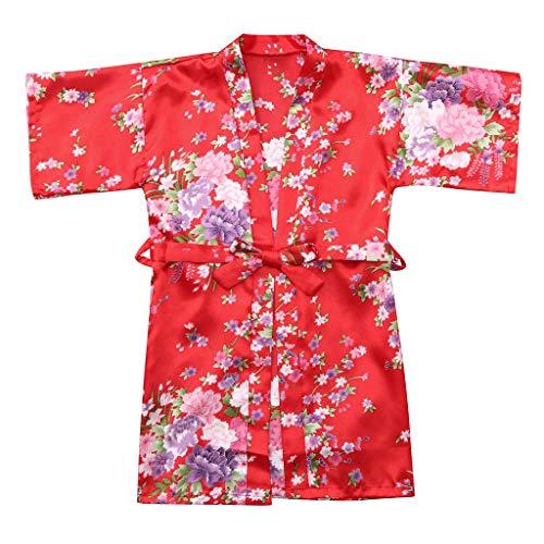 Nachtkleding kleding, kleine kinderen, dik, baby, kind, meisjes, bloemensilk, satijn, kimono, roben, badjas 12 rood