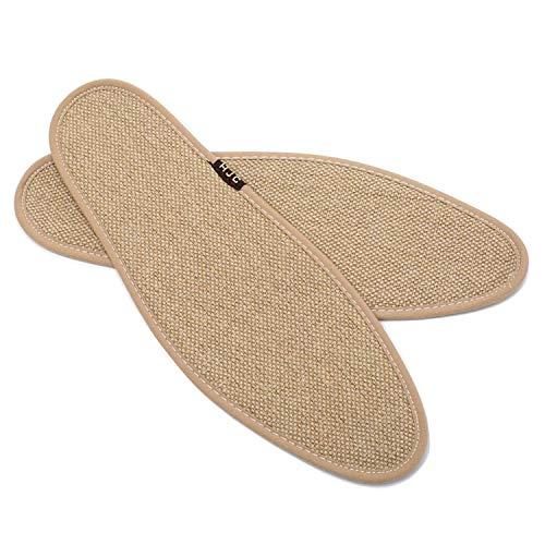 CHAMARIPA 1 Paar Herrenschuhe Einlegesohlen natürliche Leinenweberei Bambuskohlefaser Atmungsaktiv Schweiß Komfort Einlegesohlen Männer und Frauen Supported Einlagen für Arbeitsschuhe und Stiefel
