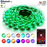 LED Strip Lights Sync to Music,RaThun Bluetooth Smartphone APP Controlled 32.8ft RGB 300 LEDs 5050 Flexible Color Changing Light Full Kit Working with Android and iOS System-UL Listed (Renewed)