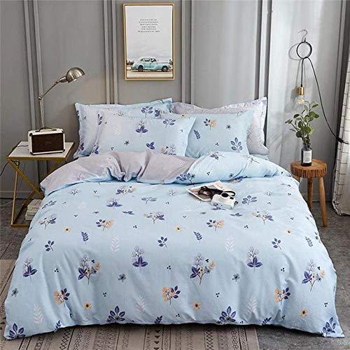 Rhmvvseso Blue plant flowers Print Duvet Cover Set King Size Bed Kingsize 3D Effect Quilt Bedding Sets with Pillow Cases Cotton, 135 x 200 cm Simple duvet cover